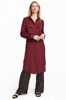 Атласное платье-рубашка H&M