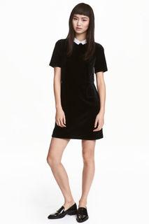 Короткое велюровое платье H&M