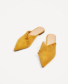 Кожаные туфли-мюли с воланом Zara