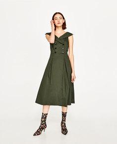 Платье миди с рубашечным воротником Zara