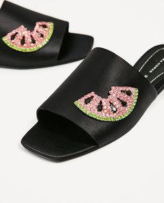 Туфли из атласа с украшением Zara