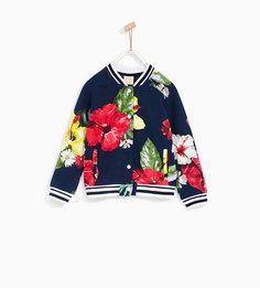 Куртка-бомбер с цветочным узором Zara