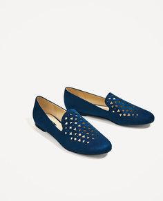 Туфли с перфорацией, на плоской подошве Zara