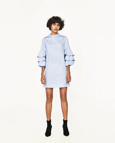 Платье в полоску с воланами на рукавах Zara