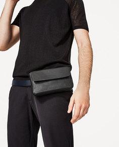 Черная кожаная поясная сумка Zara