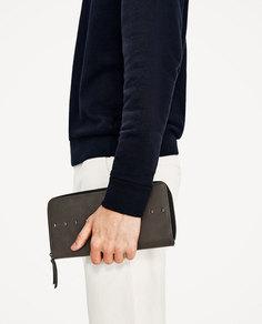 Большой серый бумажник с заклепками Zara