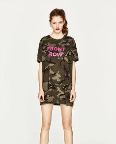 Платье с камуфляжным принтом и надписью Zara