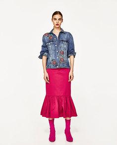 Джинсовая куртка с вышивкой «розы» Zara