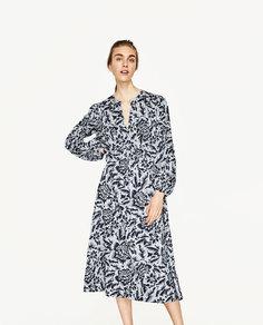 Платье миди с принтом Zara