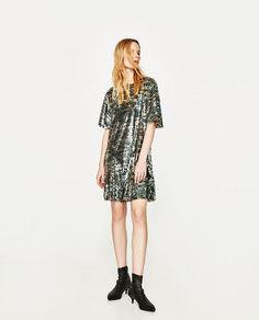 Платье с камуфляжным узором и пайетками Zara