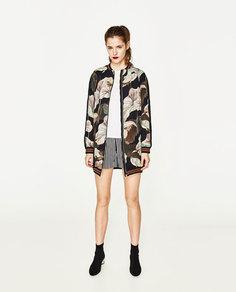 Куртка-бомбер в стиле oversize с принтом Zara