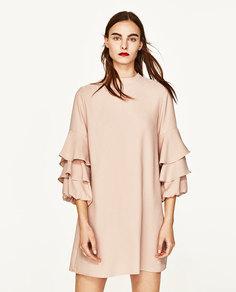 Платье с воланами на рукавах Zara