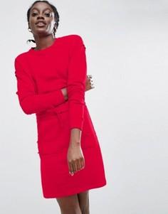Трикотажное платье с карманом-кенгуру ASOS - Красный
