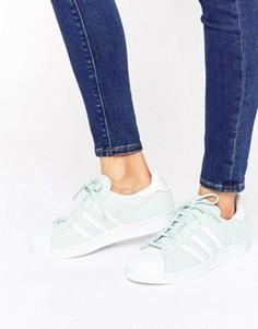 Замшевые кроссовки мятного цвета adidas Originals Superstar - Зеленый