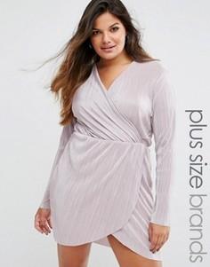 Плиссированное платье с запахом и глубоким вырезом Missguided Plus - Розовый