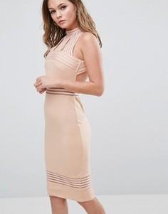 Платье миди с высоким воротом и прозрачными вставками Ginger Fizz - Розовый