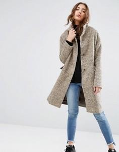 Oversize-пальто с добавлением шерсти и воротом-трубой ASOS - Розовый