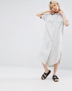 Свободное платье-рубашка с удлиненной кромкой Native Youth - Серый