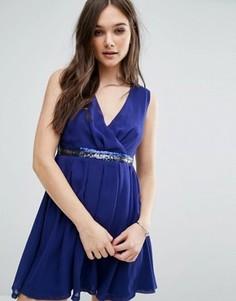 Короткое приталенное платье с декорированной талией Jasmine - Синий