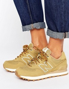 Песочные замшевые кроссовки New Balance 574 - Рыжий