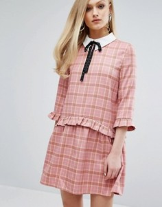 Свободное платье с воротником и принтом тартан Sister Jane - Розовый