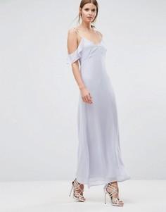 Платье макси с открытыми плечами и оборками Oh My Love - Синий