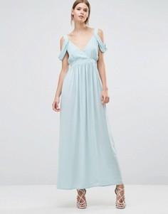 Платье макси с драпированной отделкой на плечах Oh My Love - Зеленый