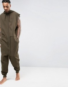 Oversize-комбинезон цвета хаки с капюшоном и шнурком ASOS - Зеленый