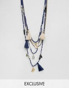Синее ожерелье из бисера Reclaimed Vintage Inspired - Синий