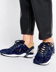Темно-синие кроссовки с цветочным принтом Le Coq Sportif R Xvi - Красный