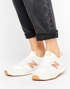 Бежевые кроссовки с золотисто-розовой отделкой New Balance 420 - Белый