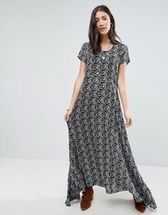 Черно-белое платье макси с принтом Raga Wild Love - Мульти