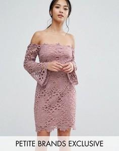 Кружевное платье мини с вырезом лодочкой True Decadence Petite - Розовый