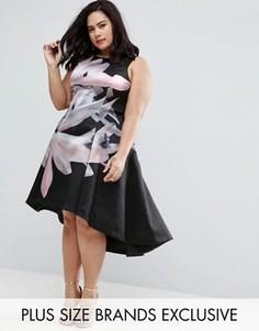 Платье миди с асимметричным подолом и цветочным принтом Coast Plus Rosario Bold - Мульти