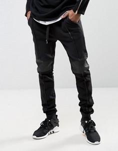 Супероблегающие байкерские джоггеры со вставками из искусственной кожи ASOS - Черный