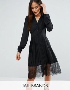 Платье-рубашка плиссе с кружевом Vero Moda Tall - Черный