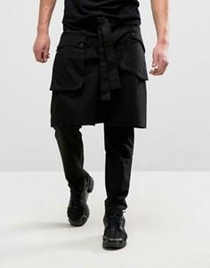 Черные брюки скинни с юбкой на пуговицах ASOS - Черный