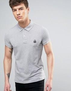 Узкая футболка-поло с короткими рукавами United Colors of Benetton - Серый