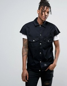 Потертая джинсовая куртка Sixth June - Черный