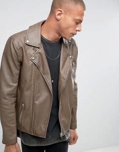 Байкерская куртка из искусственной кожи выбеленного коричневого цвета ASOS - Бежевый
