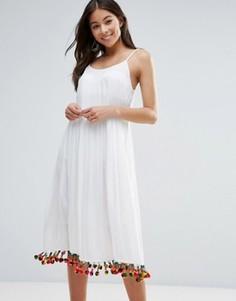Пляжное платье макси с отделкой помпонами Anmol - Белый