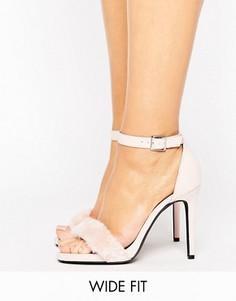 Босоножки на каблуке с искусственным мехом New Look - Бежевый