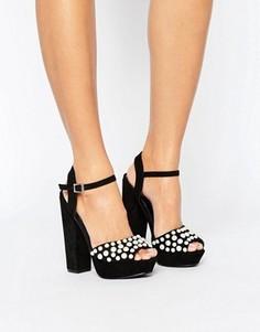 Босоножки на каблуке и платформе с искусственным жемчугом Missguided - Черный