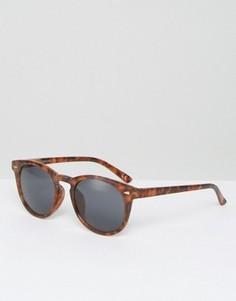 Солнцезащитные очки в круглой черепаховой оправе с черными стеклами ASOS - Коричневый