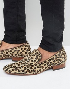 Строгие лоферы с леопардовым принтом Jeffery West Yung - Рыжий