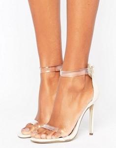 Босоножки на каблуке с прозрачными ремешками Missguided - Розовый