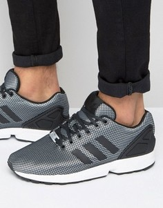 Серебристые кроссовки adidas Originals ZX Flux - Серебряный