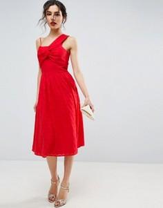 Сарафан-миди на одно плечо из фактурной ткани ASOS - Красный