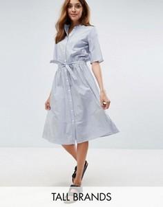 Платье-рубашка в тонкую полоску с поясом Vero Moda Tall - Мульти