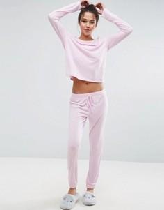 Пижамный комплект розового цвета с лонгсливом и джоггерами ASOS - Розовый